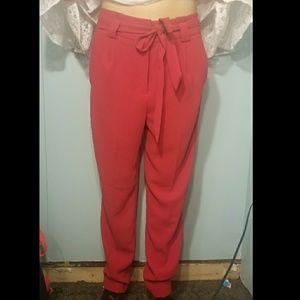 Express Red Ankle High Rise Pants